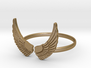 Wings Ring in Polished Gold Steel