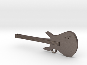 Electric Guitar Key Chain (Metal) in Polished Bronzed Silver Steel
