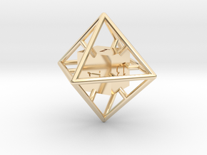 Average D8 Cage Dice in 14K Yellow Gold