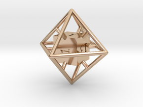 Average D8 Cage Dice in 14k Rose Gold Plated