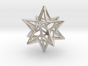 Stellated Dodecahedron Star Earring in Rhodium Plated Brass