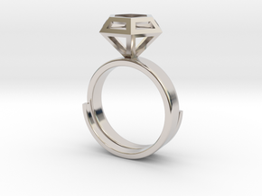 Diamond Ring US 7 3/4 in Rhodium Plated Brass