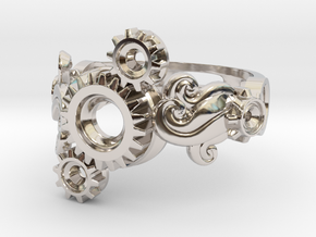 Tri-Gear Mech Ring size 10 in Rhodium Plated Brass