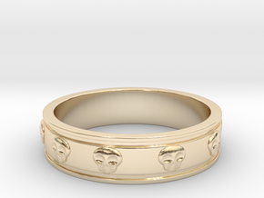 Ring with Skulls - Size 8 in 14K Yellow Gold