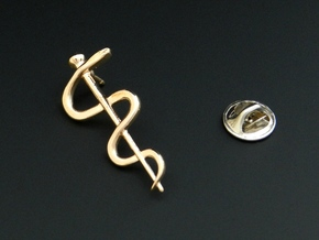 Rod of Asclepius Lapel Pin in Polished Bronze