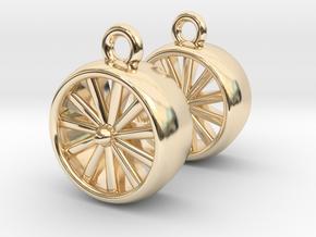 Jet Engine Earrings in 14k Gold Plated Brass