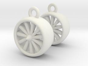 Jet Engine Earrings in White Natural Versatile Plastic