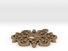 Yin Yang Snowflake Pendant in Natural Brass