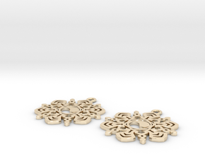 Yin Yang Snowflake Earrings  in 14k Gold Plated Brass