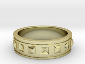 Ring with Studs - Size 4 in 18k Gold Plated Brass