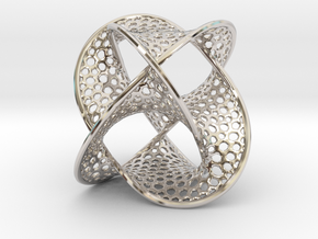 Borromean Rings Seifert Surface (5cm) in Rhodium Plated Brass