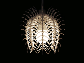 Vertebral 02 - Pendant Lampshade in White Strong & Flexible