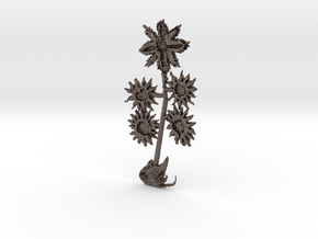 Flower-02 (steel) not existing on planet earth in Polished Bronzed Silver Steel