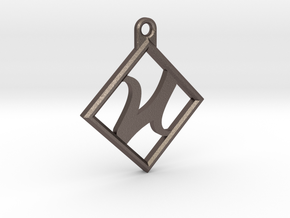 Kettenanhänger - Logo in Polished Bronzed Silver Steel
