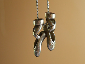 Dance Ballet Slippers Necklace in Polished Bronzed Silver Steel