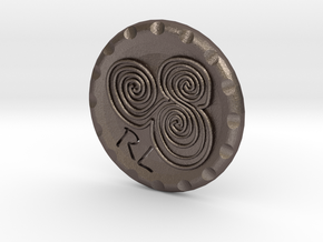 Golf Ball Marker Newgrange Spiral in Polished Bronzed Silver Steel