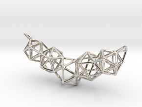 Icosahedron Frame Geometry Pendent in Rhodium Plated Brass