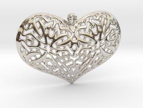 HeartPendantV1 PE33s1 46x31h55 in Rhodium Plated Brass