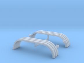1/87th HO Truck Tandem Fenders ribbed w lights in Smooth Fine Detail Plastic