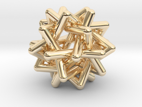 Six Tangled Stars in 14k Gold Plated Brass