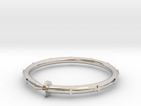 Cross Nail Bracelet in Rhodium Plated Brass