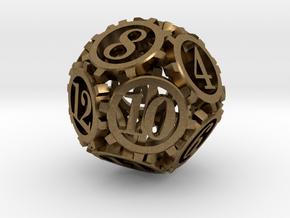 Steampunk Gear d12 in Natural Bronze