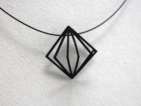 3D Fanned Diamond in Black Natural Versatile Plastic