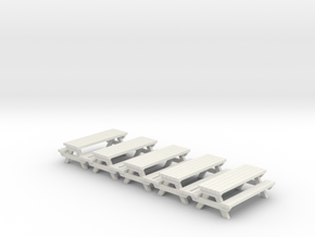 Picnic Table - Qty (5) HO 1:87 Scale in White Natural Versatile Plastic