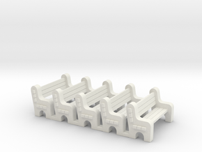 Street Bench - Qty (5) HO 87:1 Scale in White Strong & Flexible
