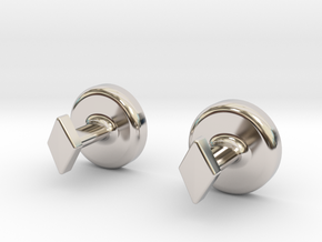 Yin Yang Cuff Links - Small in Platinum