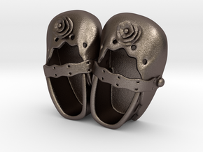 Baby Shower Decorations - Baby Shoes - One Color  in Polished Bronzed Silver Steel