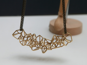 Voronoi Construction Framework Pendent in Polished Brass
