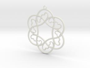 Little Hearts Pendant in White Natural Versatile Plastic