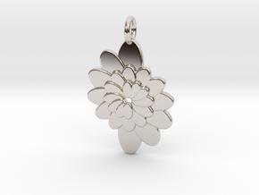 Spiral Flower 1 in Rhodium Plated Brass