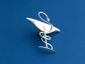 Bowl Of Hygeia RX Lapel Pin in Premium Silver