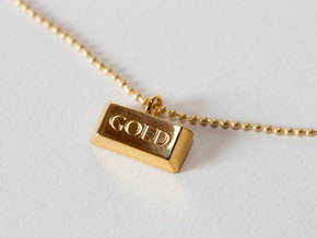 Gold Bar Pendant Necklace in 18k Gold Plated Brass