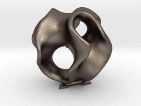 Gyrox - 50mm  in Polished Bronzed Silver Steel