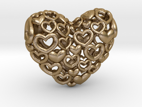 Heart by Heart 35mm Pendant. in Polished Gold Steel