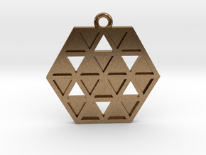 Triforce Star Of David Pendant in Natural Brass