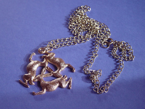 Three Hares Pendant in Polished Gold Steel