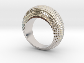 0100 Antisymmetric Torus Ring (Size 6) #001 in Rhodium Plated Brass