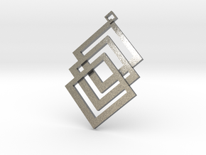 Cuboid prendant in Natural Silver