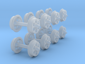 N-gauge 6-hole disc wheels in Smooth Fine Detail Plastic