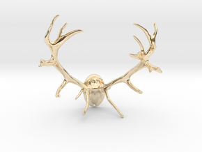 Red Deer Antler Mount - 50mm in 14k Gold Plated Brass