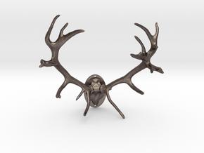 Red Deer Antler Mount - 50mm in Polished Bronzed Silver Steel