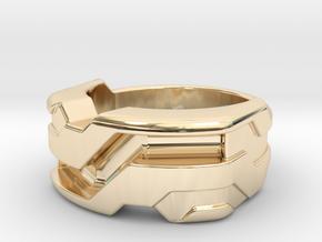 US6 Ring XXI: Tritium (Silver) in 14K Yellow Gold