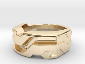 US8.5 Ring XXI: Tritium (Silver) in 14K Yellow Gold