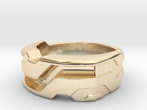 US9.5 Ring XXI: Tritium (Silver) in 14k Gold Plated Brass