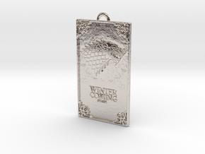 Game of Thrones - Stark Pendant in Rhodium Plated Brass