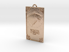 Game of Thrones - Stark Pendant in 14k Rose Gold Plated Brass
